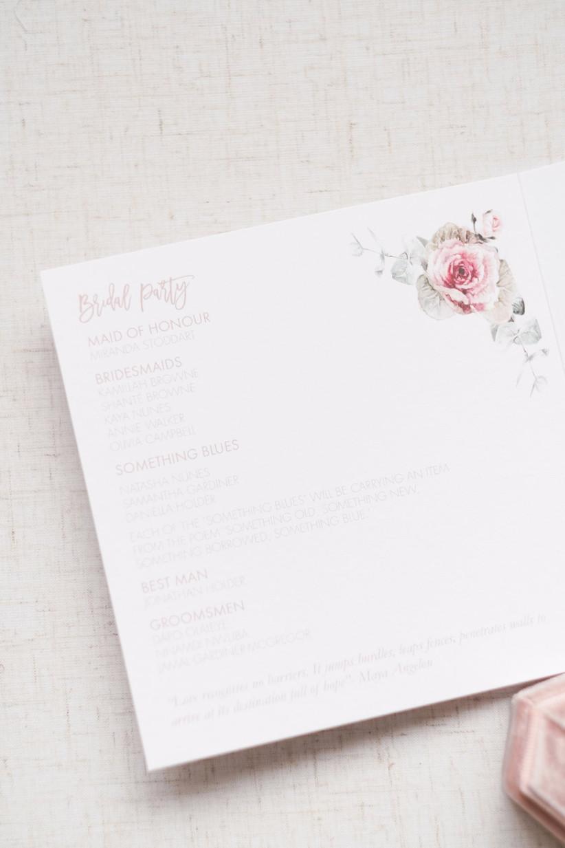 Wedding order of service with rose illustration