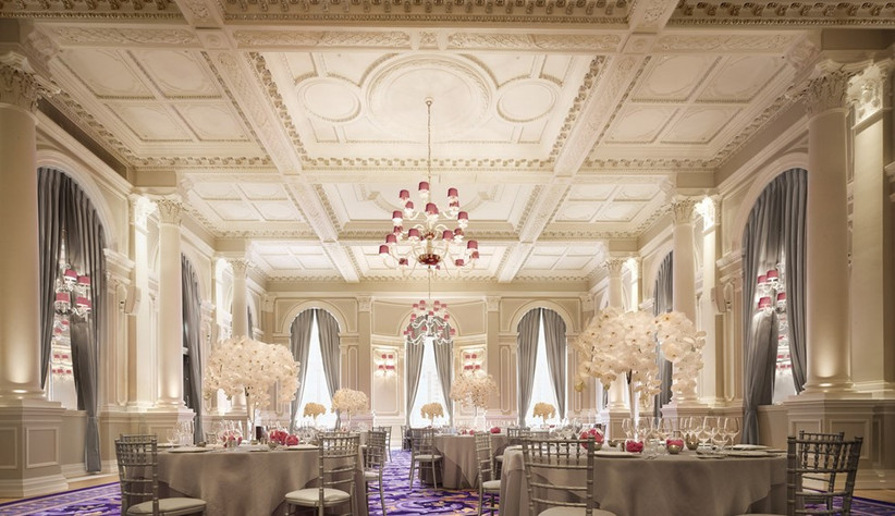 The ballroom at the corinthia set up for a weding