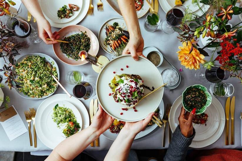 Family-style wedding food