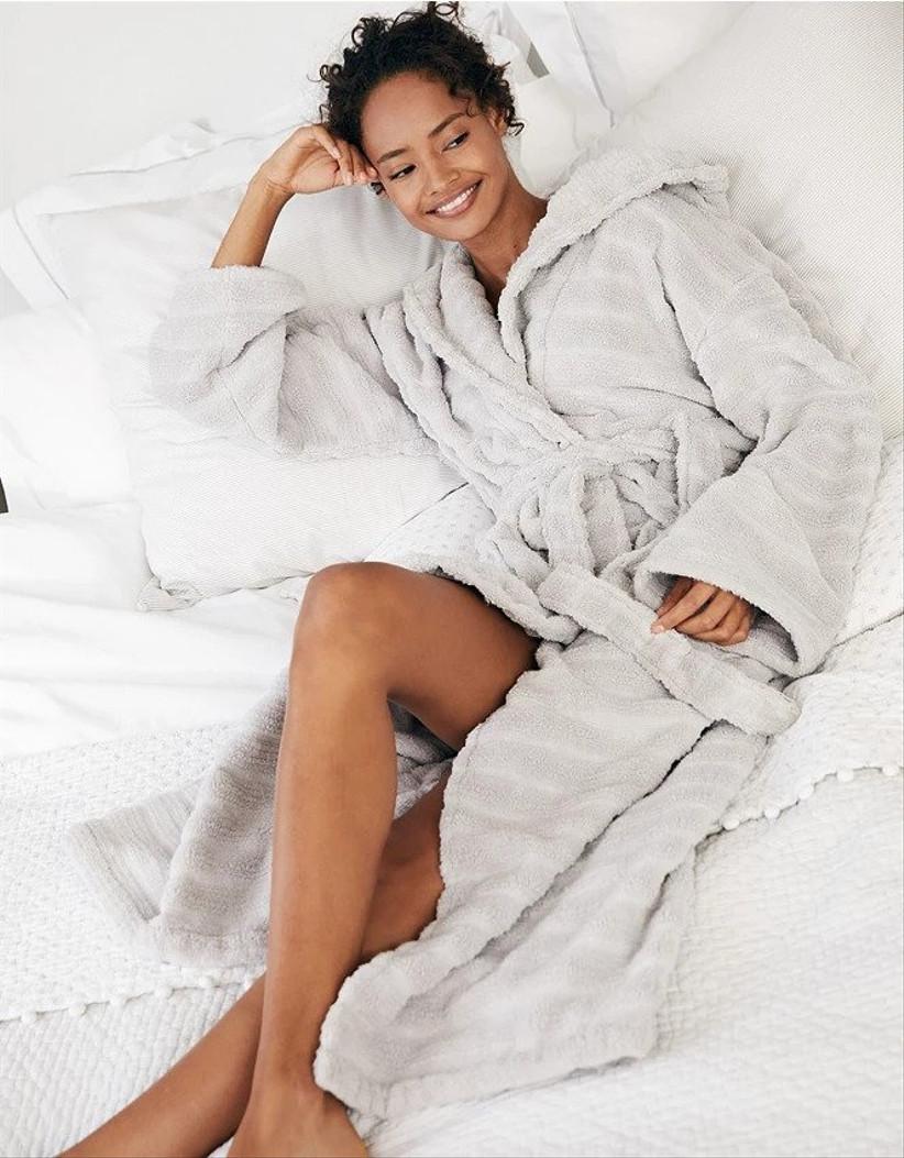 Model wearing a grey robe