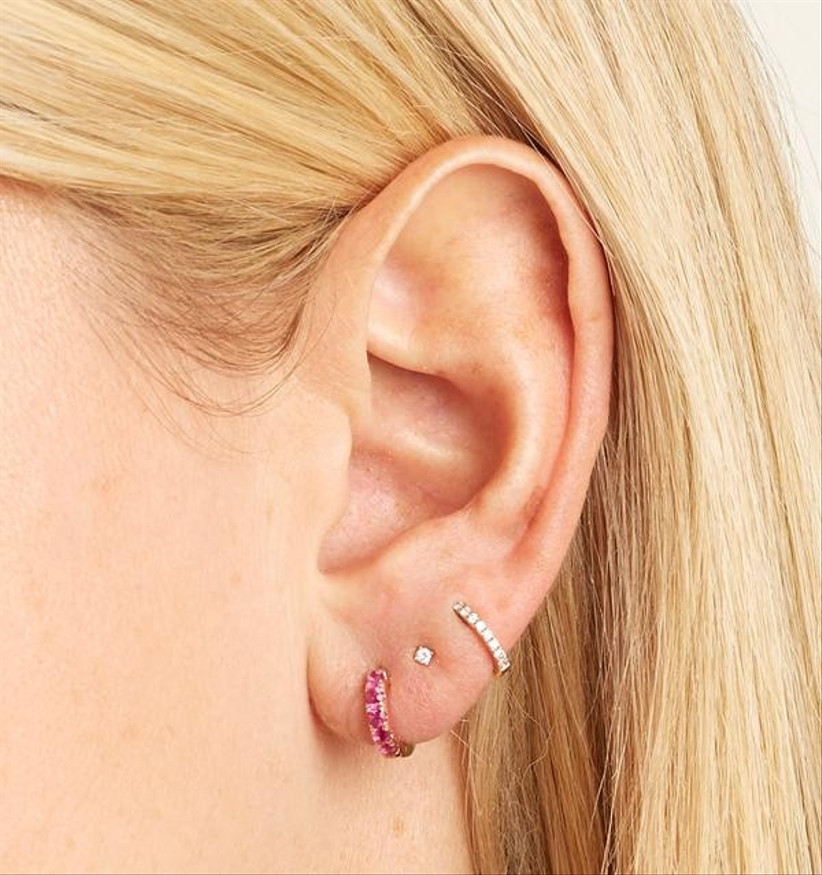 Rose Gold, Mini Chubby Pink Sapphire Huggie Hoop