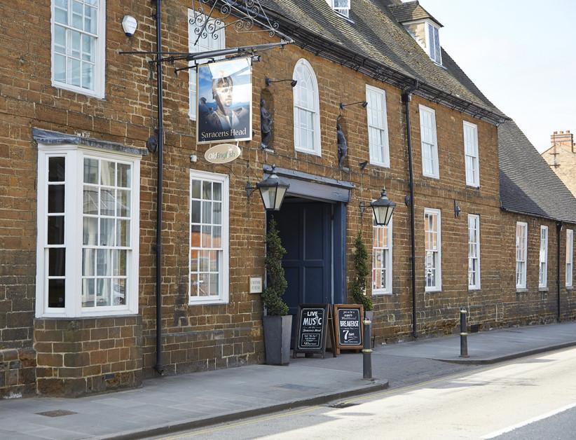 Exterior of Northamptonshire wedding venue The Saracens Head Hotel