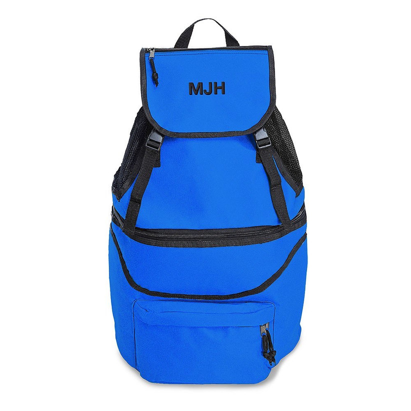 Royal blue cool bag backpack with initials stitched in black onto the front flap