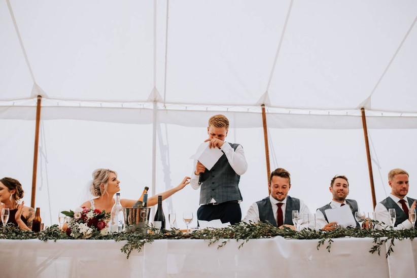 Groom getting emotional during his wedding speech