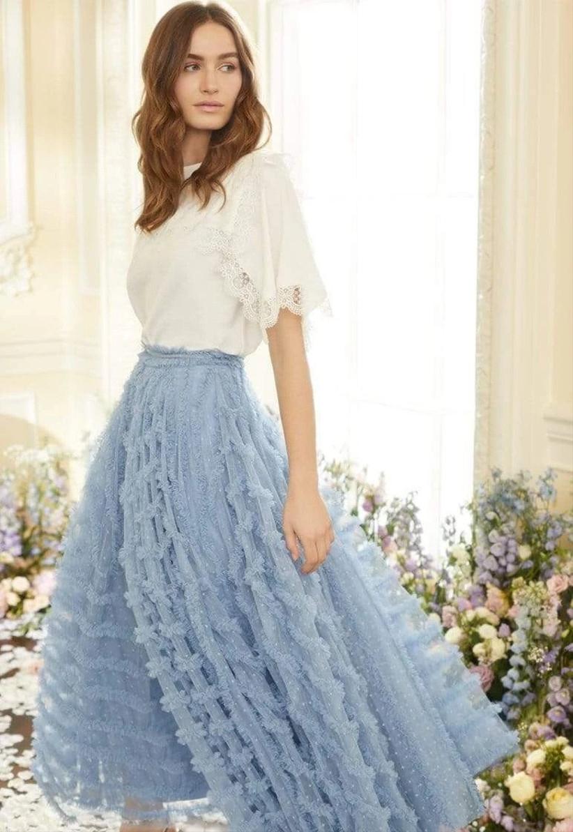 Blue ruffled ankle length skirt