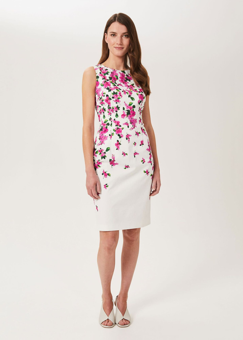 White sleeveless shift dress with pink and green flowers