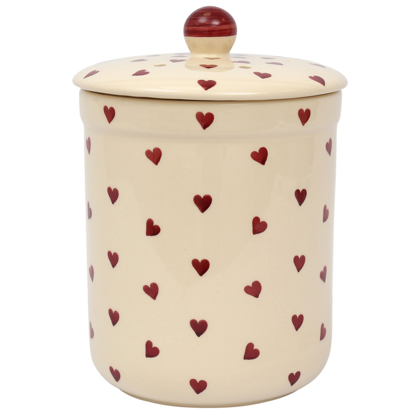 White ceramic compost caddy with red love hearts