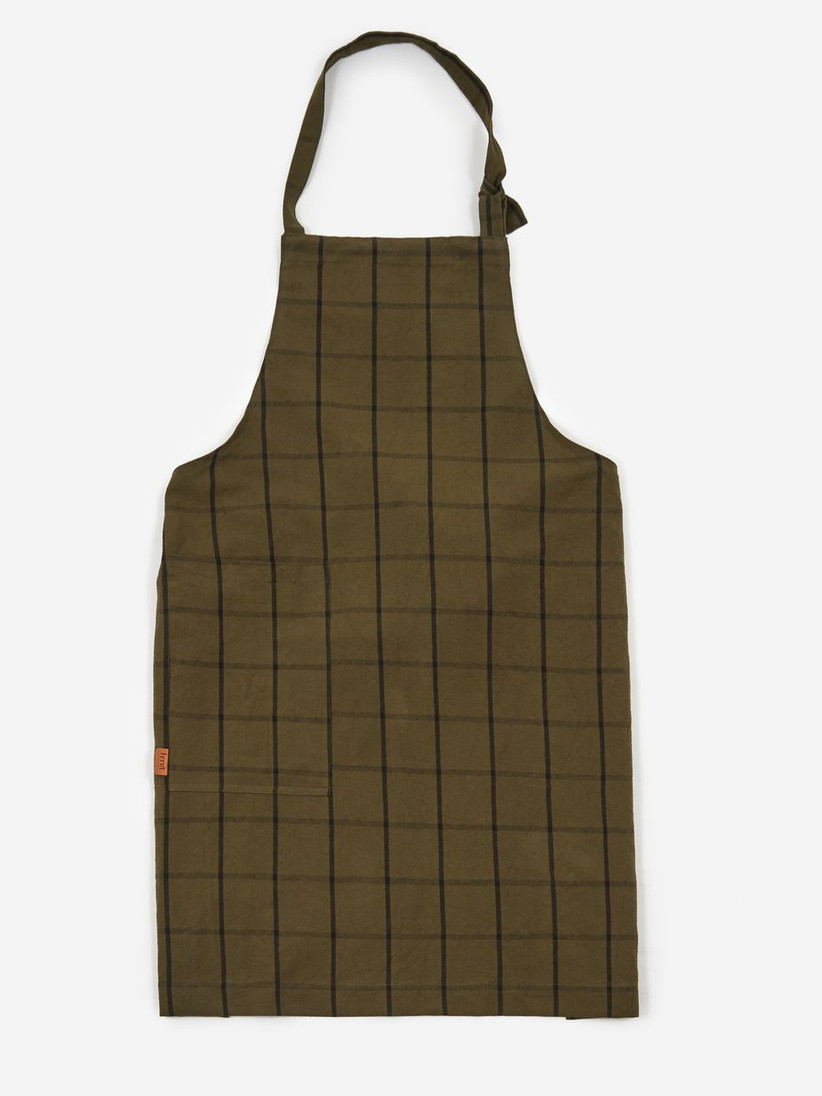 Olive and black checked apron on a white background