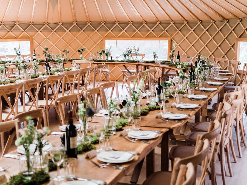 Wedding dining area in a yurt