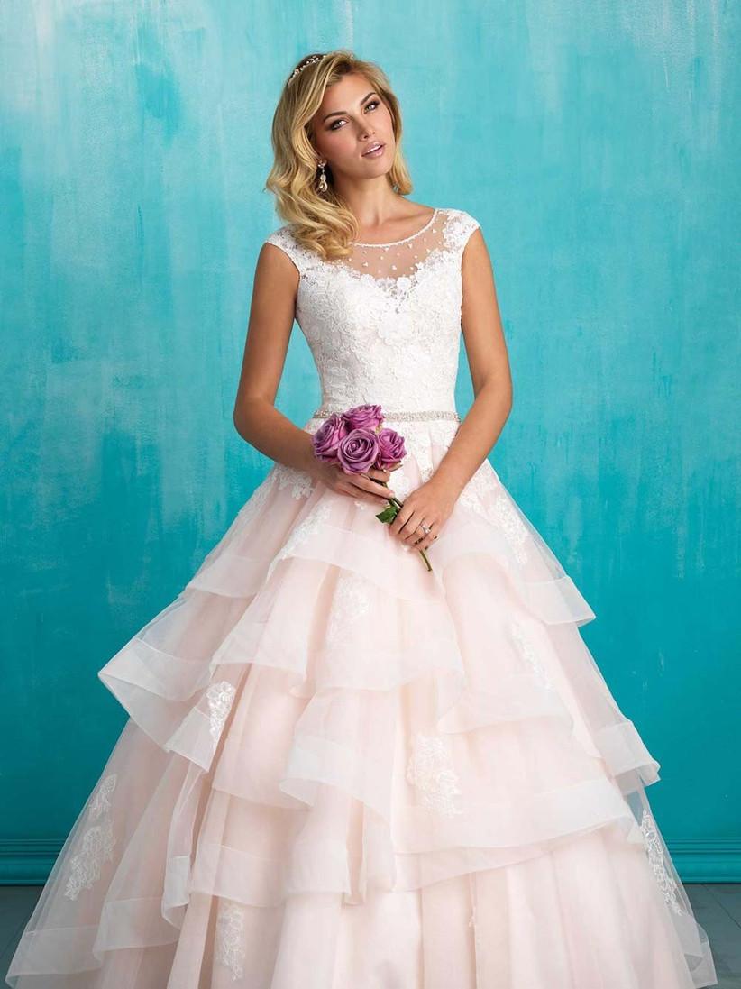 pink-tiered-wedding-dress-with-illusion-neckline