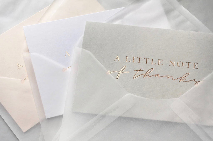 17. wedding thank you gifts Foiled Thank You Cards With Translucent Vellum Envelope - NOTHS