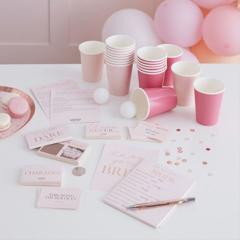 Complete hen party kit with cups, cards and ping pong balls