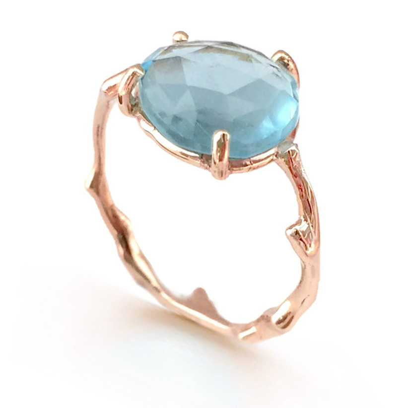 Rose Cut Sky Blue Topaz Twig Statement Ring