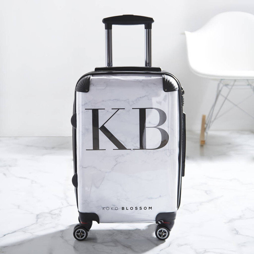 Marble initial suitcase