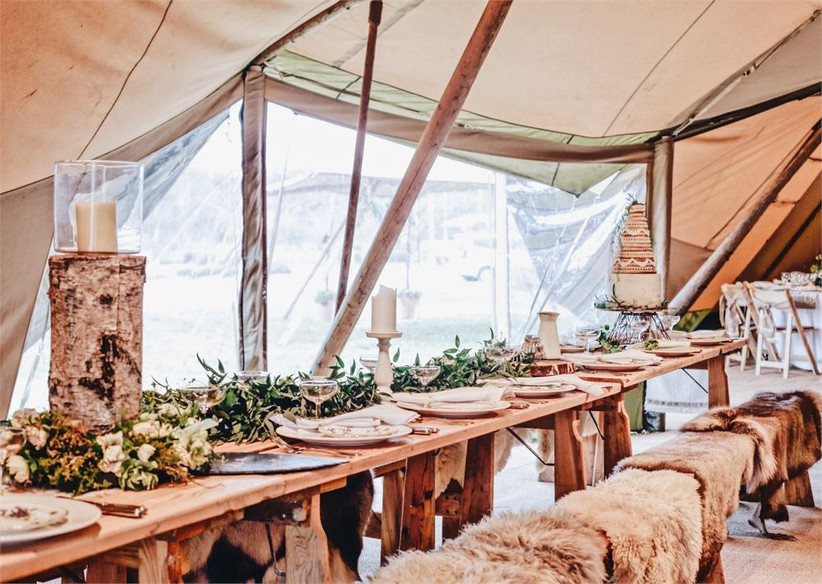 Dining table in a wedding tipi