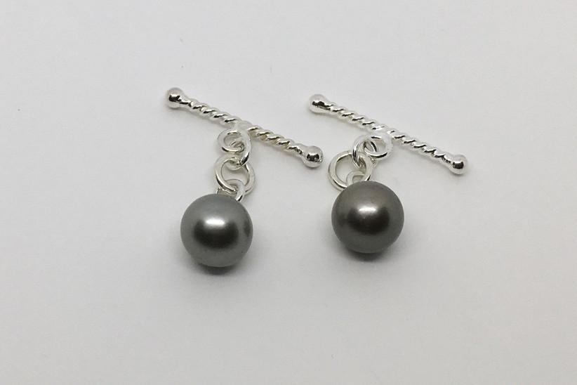 grey pearl cufflinks