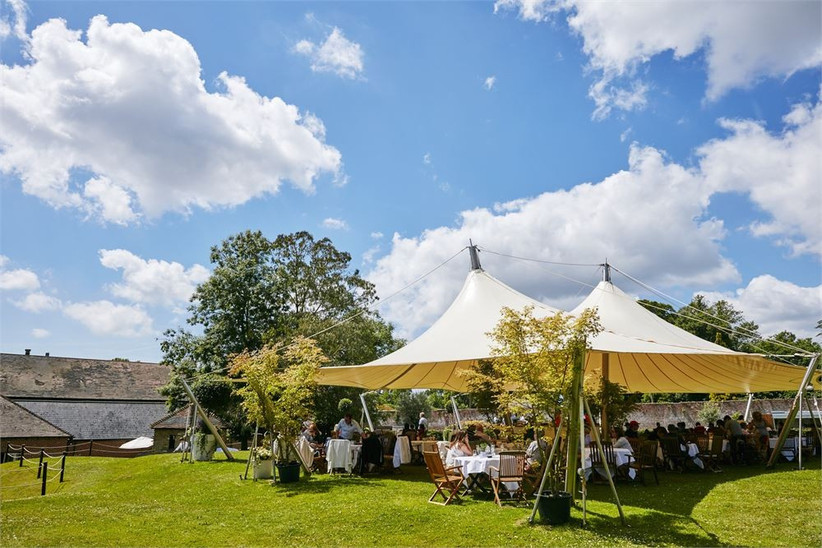 Outside wedding marquee
