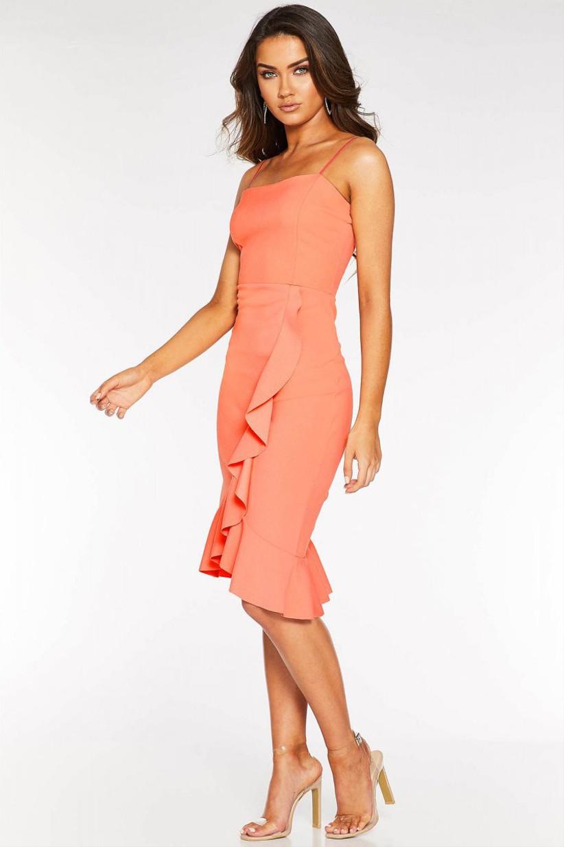 Quiz-sam-faiers-coral-frill-midi-dress