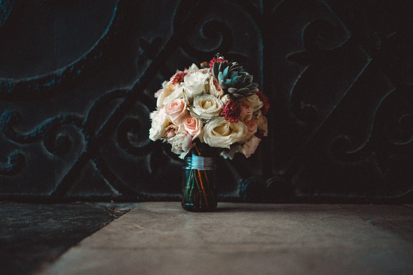 Nirosha's wedding bouquet in a vase from the side