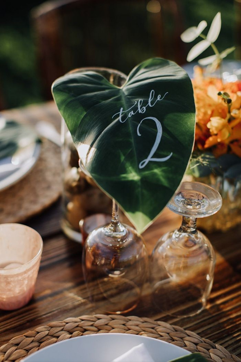 leaf wedding table number