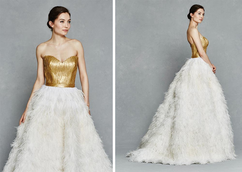 feathered-wedding-dress-with-gold-bodice