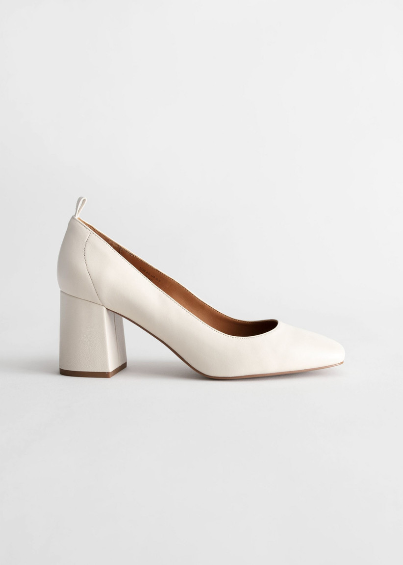 & Other Stories Square Toe Leather Ballerina Pumps
