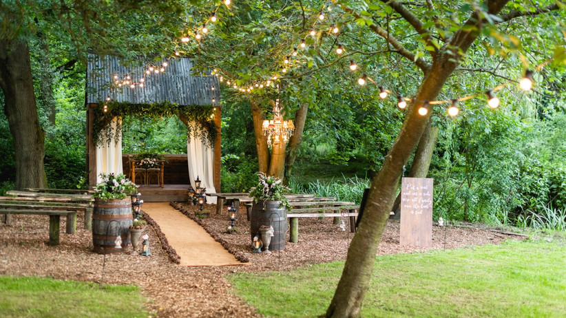 Outdoor ceremony space at The Woodlands