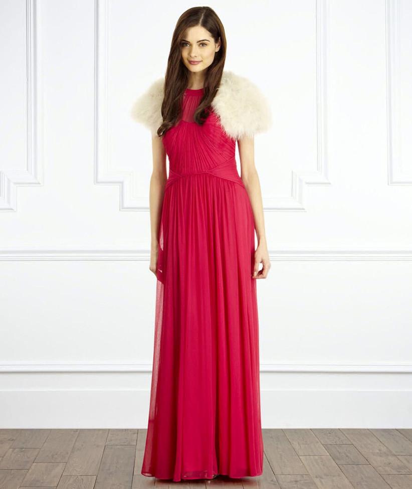 this-fuchsia-winter-bridesmaid-dress-from-coast-looks-beautiful-with-this-ivory-feather-bolero