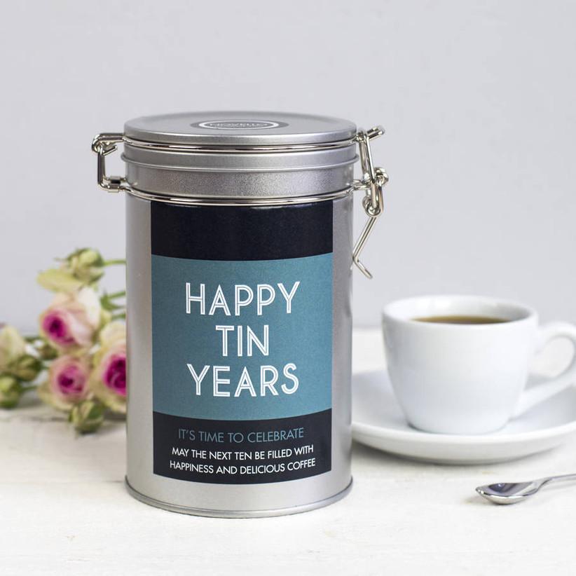 Happy tin years coffee tin