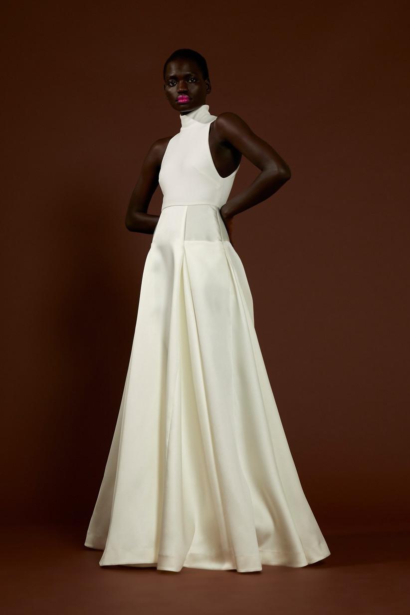 White high neck wedding maxi dress for older brides