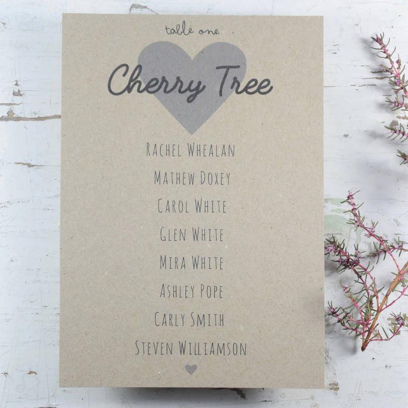 Tree wedding table names