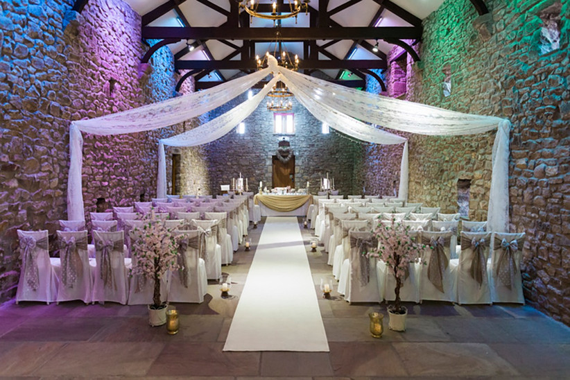 Interior of the Tithe Barn dressed for a ceremony