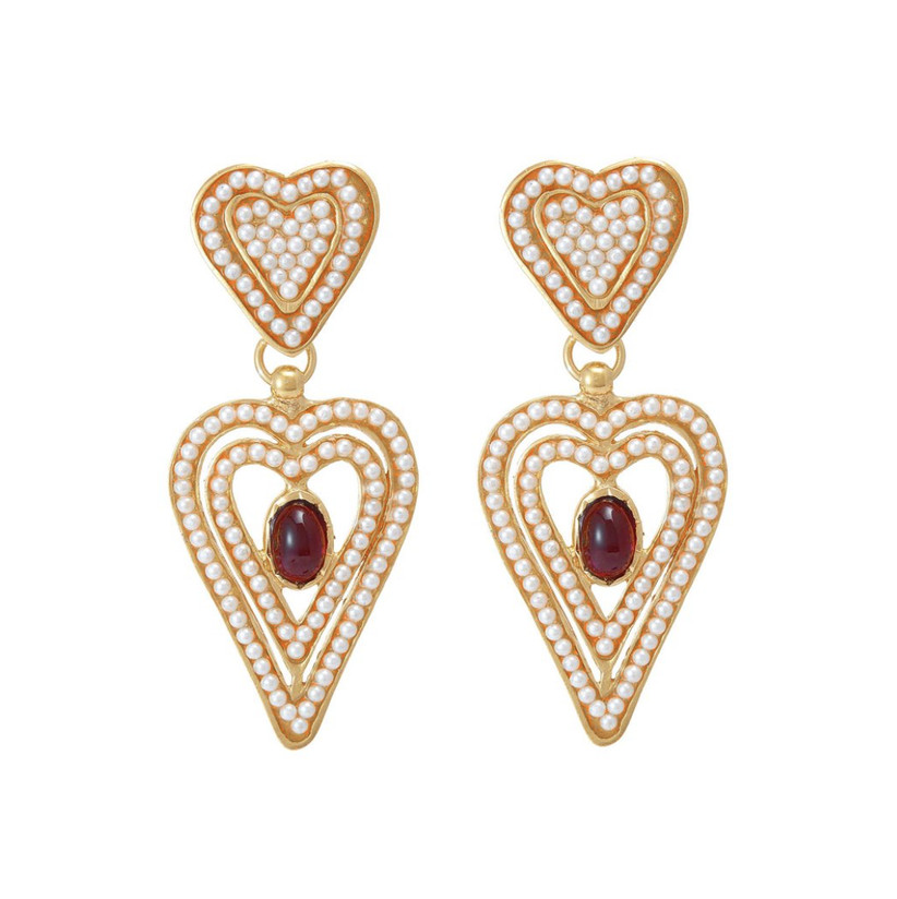 Pair of double heart drop earrings studded with tiny pearls with a red garnet at the centre of each earring