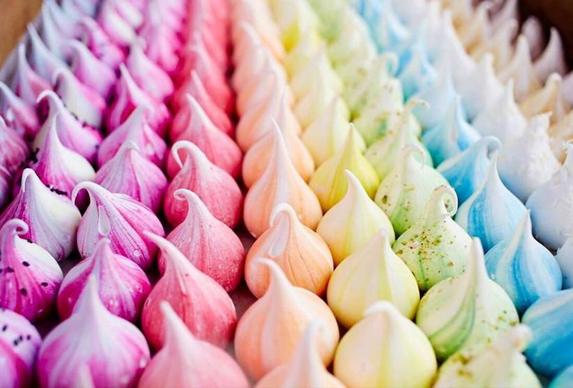 Rainbow coloured mini meringues