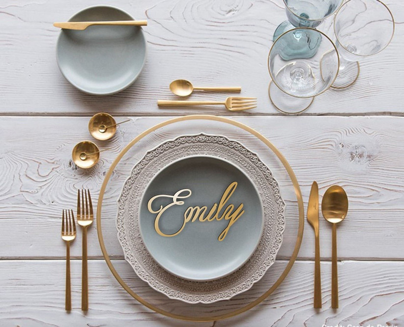 Wooden name place on a dinner table
