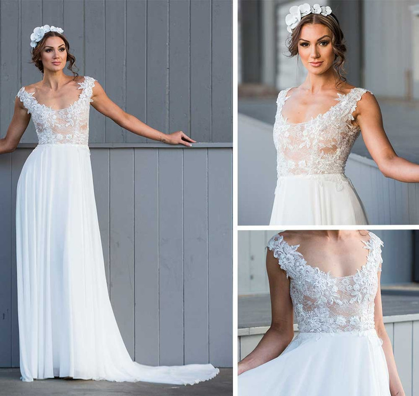 romantic-wedding-dress-with-sheer-bodice-and-scoop-neck