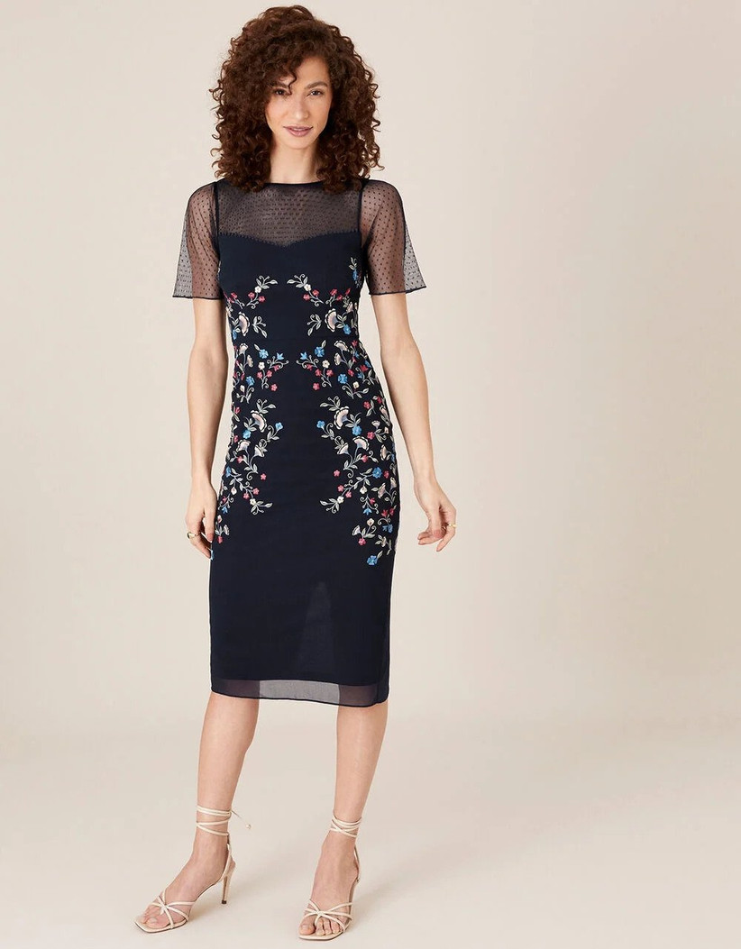 Navy shift dress with colourful embroidery