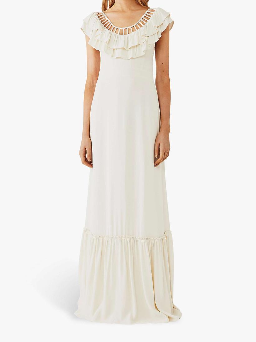 Girl wearing a cut-out neckline white wedding dress
