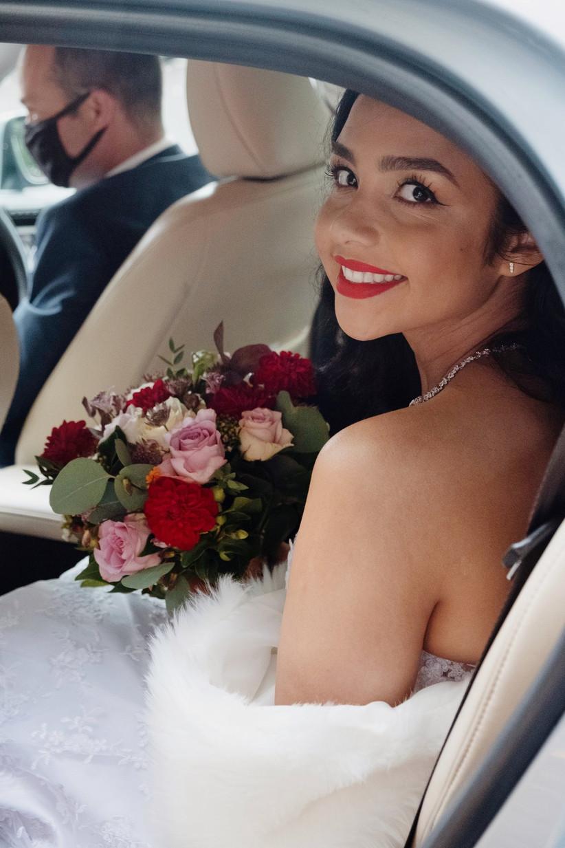 Daniella in her wedding car