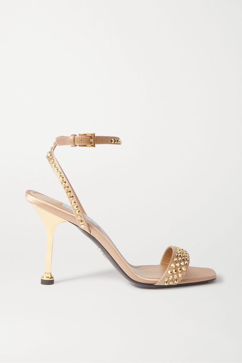 Gold studded bridal heel