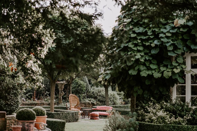 Green garden with trees and a table and chairs