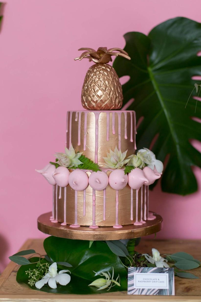 Copper-pineapple-and-pink-drip-meringue-wedding-cake