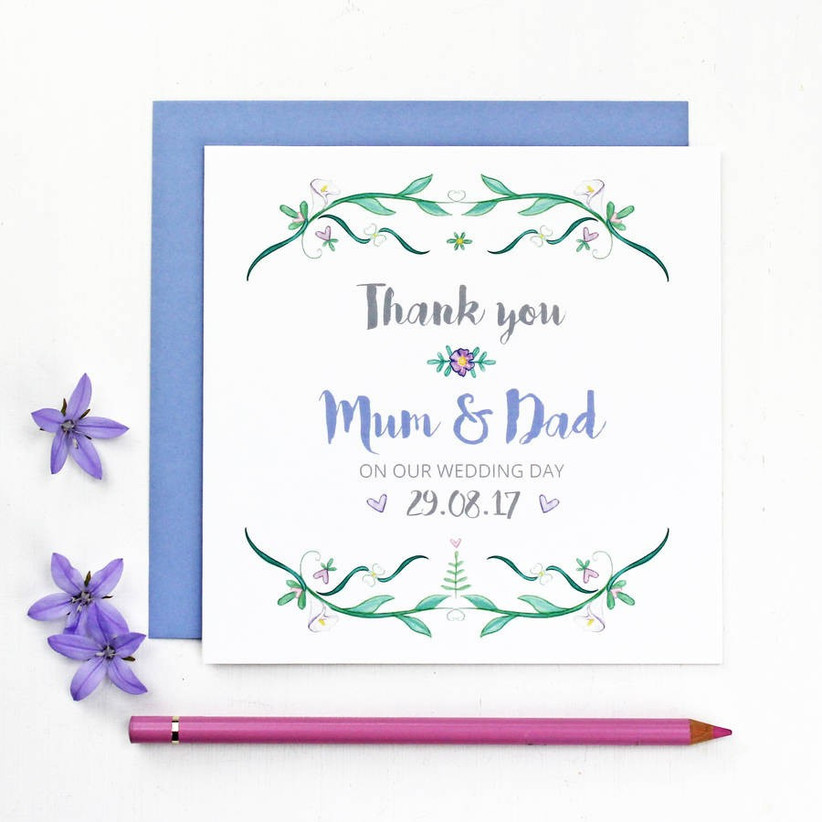 Parents wedidng thank you card