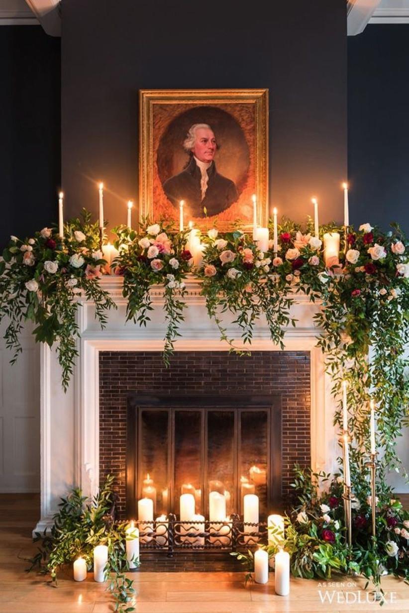 winter wedding fireplace