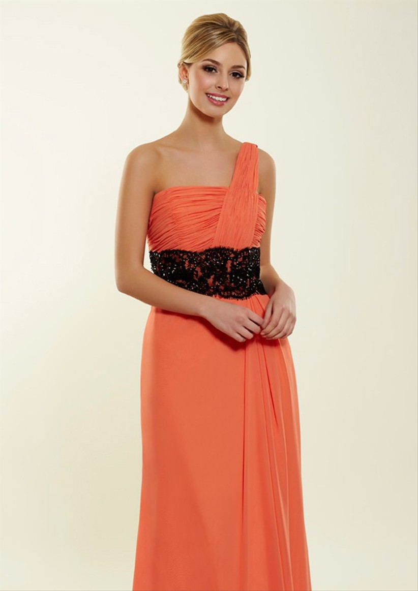 this-orange-one-shoulder-bridesmaid-dress-from-bridesmaids-by-romantica-has-a-flattering-asymmetrical-neckline-and-an-elegant-black-waistband