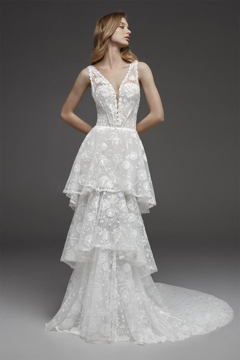 Tiered unique wedding dress