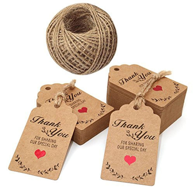 Brown thank you tags with brown string
