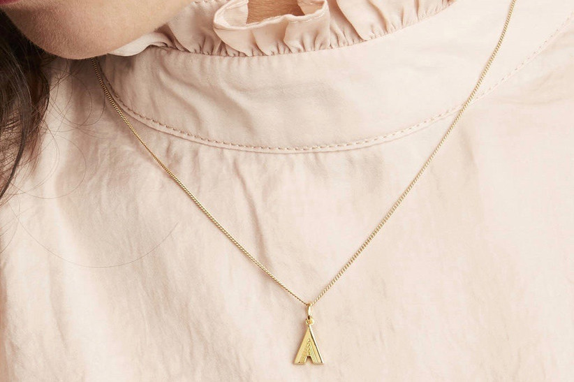 2. wedding thank you gifts Art Deco Initial Necklace by RACHEL JACKSON LONDON NOTHS