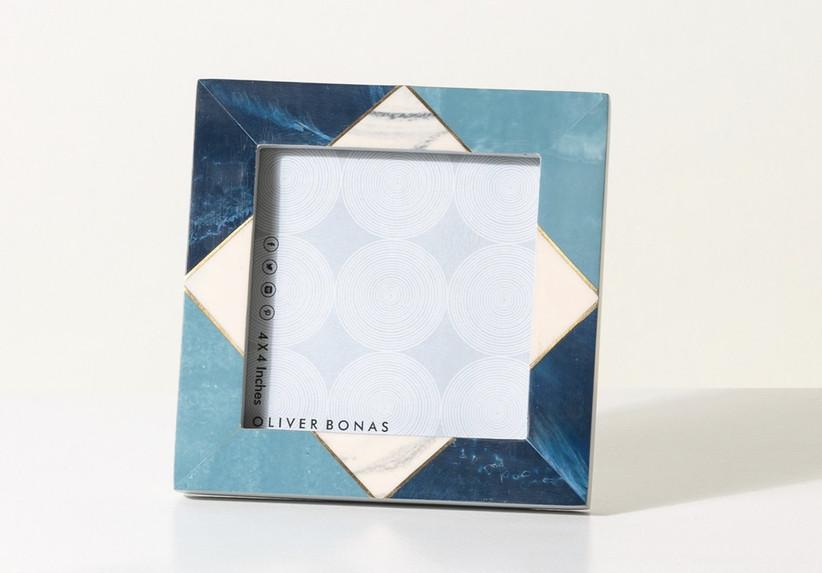 Geometric diamond blue, gold and white photo frame