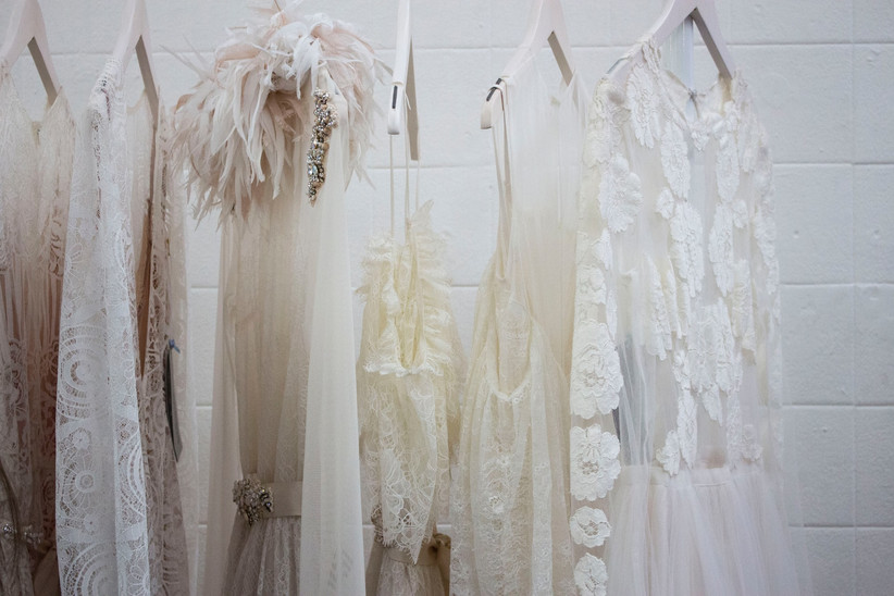 White wedding dresses on a rack